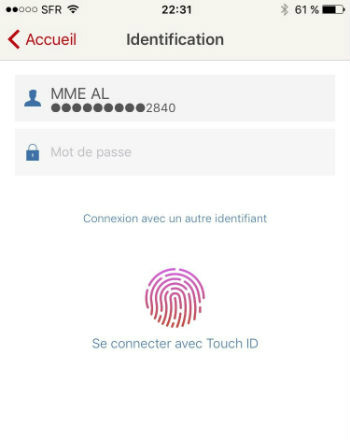 Identification touch ID